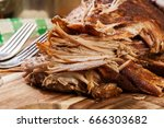 slow cooked pulled pork... | Shutterstock . vector #666303682