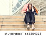 unhappy young businesswoman... | Shutterstock . vector #666304315