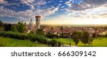 beautiful sunset view of lonato ... | Shutterstock . vector #666309142