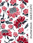 seamless pattern with peony... | Shutterstock .eps vector #666311692