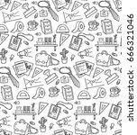 office supplies theme seamless... | Shutterstock . vector #666321046