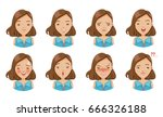 set of woman's emotions. facial ... | Shutterstock .eps vector #666326188