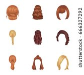 quads  blond braids and other... | Shutterstock .eps vector #666327292