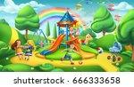 children playground. nature... | Shutterstock .eps vector #666333658