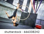 young asian acrobatic woman... | Shutterstock . vector #666338242