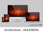 realistic computer  laptop ... | Shutterstock .eps vector #666338356