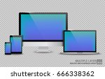 realistic computer  laptop ... | Shutterstock .eps vector #666338362