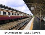 diesel passenger train is...   Shutterstock . vector #666343996