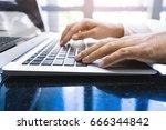 young businessman multitasking... | Shutterstock . vector #666344842