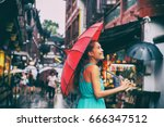 people lifestyle umbrella... | Shutterstock . vector #666347512