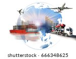 global business of  import... | Shutterstock . vector #666348625