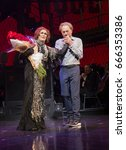 Small photo of New York, NY USA - June 25, 2017: Glenn Close, Andrew Lloyd Webber on stage of Palace theater during Sunset Boulevard last performance on Broadway curtain call