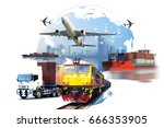 global business of container... | Shutterstock . vector #666353905