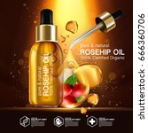 rose hip oil natural cosmetic... | Shutterstock .eps vector #666360706