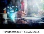 business concept. businessman... | Shutterstock . vector #666378016
