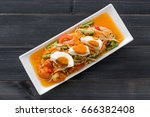 papaya salad with salted egg ... | Shutterstock . vector #666382408