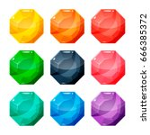 set of nine different colored...   Shutterstock .eps vector #666385372