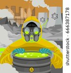 nuclear powerplant meltdown and ... | Shutterstock .eps vector #666387178