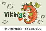 Stock vector banner with cartoon dragon of vikings age vector illustration cool print for t shirt and textile 666387802
