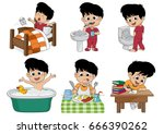 set of daily cute boy boy wake... | Shutterstock .eps vector #666390262