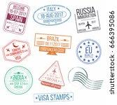 set of visa passport stamps.... | Shutterstock .eps vector #666395086
