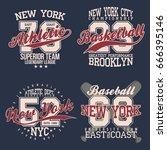 vintage labels set  athletic... | Shutterstock .eps vector #666395146