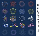 set of isolated fireworks.... | Shutterstock .eps vector #666395152