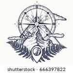 mountains and compass tattoo.... | Shutterstock .eps vector #666397822