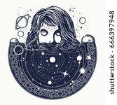 woman in space tattoo art.... | Shutterstock .eps vector #666397948