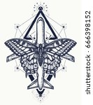 butterfly and plane tattoo ... | Shutterstock .eps vector #666398152