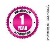 pink 1 year warranty badge ... | Shutterstock .eps vector #666400612