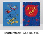 two posters for ladies night... | Shutterstock .eps vector #666403546