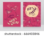 two posters for ladies night... | Shutterstock .eps vector #666403846