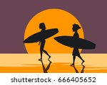 man and woman  surfers couple... | Shutterstock .eps vector #666405652