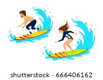 Man And Woman Surfers Surfing...