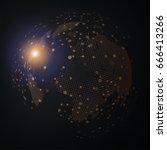 technology image of globe.... | Shutterstock .eps vector #666413266