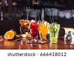 whiskey cola cocktail  mojito...   Shutterstock . vector #666418012