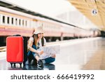 asian backpack traveler woman... | Shutterstock . vector #666419992