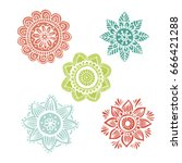 set of 5 flower mandala in hand ... | Shutterstock .eps vector #666421288