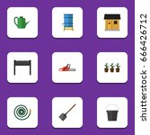 flat icon dacha set of shovel ... | Shutterstock .eps vector #666426712