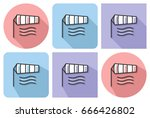 outlined icon of windsock with... | Shutterstock .eps vector #666426802