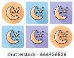 outlined icon of   crescent... | Shutterstock .eps vector #666426826