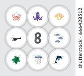 flat icon nature set of tuna ... | Shutterstock .eps vector #666428512