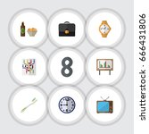 flat icon oneday set of timer ... | Shutterstock .eps vector #666431806