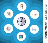 flat icon life set of watch ... | Shutterstock .eps vector #666431812