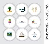 flat icon beach set of aircraft ... | Shutterstock .eps vector #666433756