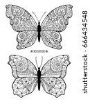 amazing fly butterflies. wild... | Shutterstock .eps vector #666434548