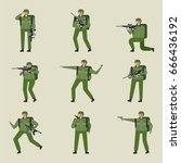 soldier character various poses ... | Shutterstock .eps vector #666436192