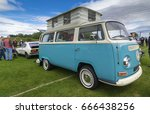 TAIN, SCOTLAND - JUNE 18 2017: Classic Volkswagen Camper van at vintage car rally - stock photo