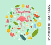 flamingo with delicious fruits... | Shutterstock .eps vector #666443302